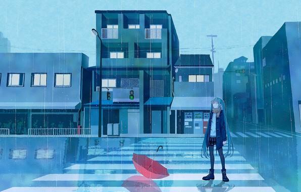 Picture road, girl, rain, umbrella, traffic light, Hatsune Miku, Vocaloid
