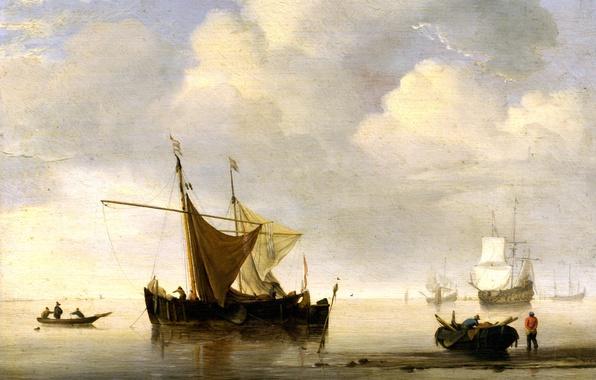 Picture sea, boat, ship, picture, sail, Willem van de Velde the Younger, Willem van de Velde, ...