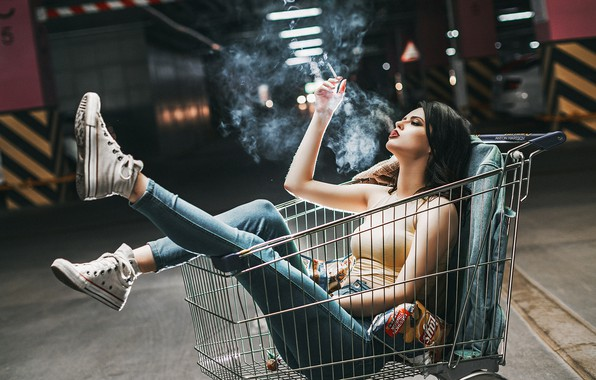 Picture girl, pose, mood, feet, sneakers, the situation, jeans, cigarette, truck, Anton Kharisov, Valeria Goncharova