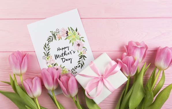 Picture gift, Love, bouquet, tulips, wood, postcard, Celebration, Mothers day