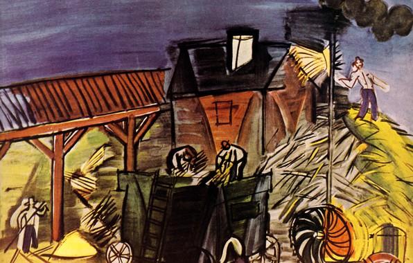 Picture Paris, 1949, Huile sur Toile, Raoul Dufy, DВpiquage with the blue sky, DBpiquage the blue …