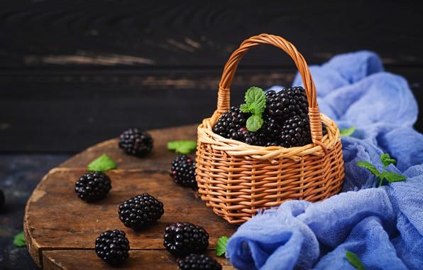 Picture berries, basket, fresh, wood, BlackBerry, blackberry, berries