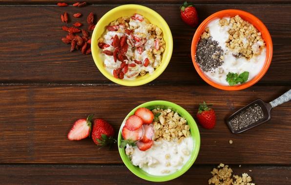 Photo wallpaper muesli, Breakfast, fruit, cereal, nuts, berries