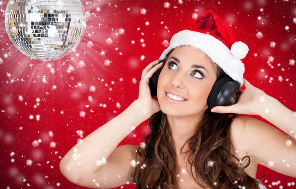 Picture girl, joy, snowflakes, red, smile, background, hat, new year, ball, headphones, maiden, brown hair, cap