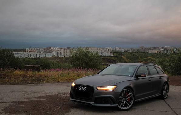 Picture Audi, City, Green, RS6, VAG, Nardo gray, Audi LED