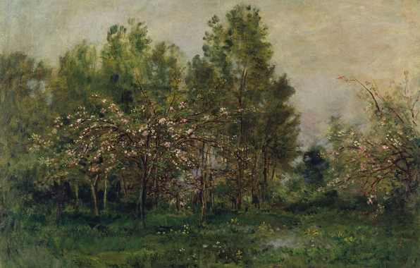 Picture trees, landscape, picture, impressionism, Charles-Francois Daubigny, The Apple trees in Bloom
