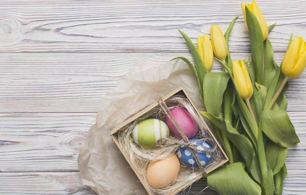 Picture holiday, box, bouquet, Easter, tulips, box, flower, wood, tulips, decor, gift, eggs