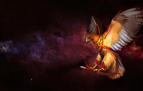 Picture bird, predator, bow, art, arrow, Falcon, quiver, Alexander Khitrov, GaudiBuendia