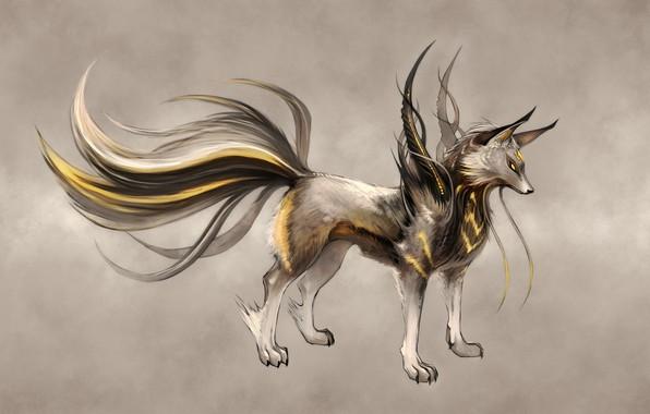 Picture Digital Art, yellow eyes, Ninjatic, artwork drawings, askal, fiction animals