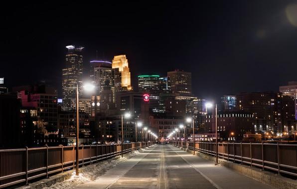 Picture snow, night, bridge, lights, home, lights, USA, Minnesota, Minneapolis