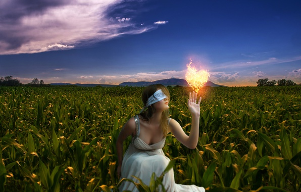 Picture field, girl, nature, mood, fire, heart, corn, touch, headband