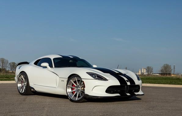 Picture Dodge, white, black, viper, strips