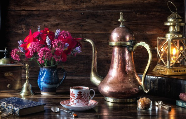 Picture flowers, style, books, lamp, coffee, bouquet, glasses, lantern, still life, coffee grinder, coffee pot
