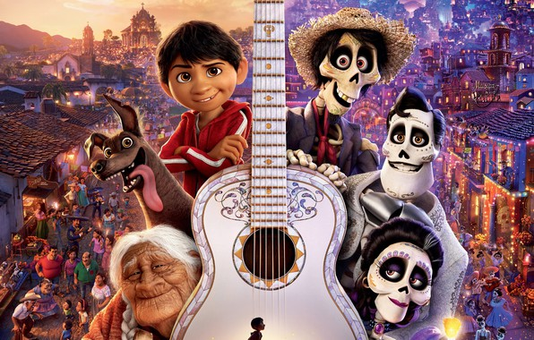 Picture the city, lights, people, cartoon, guitar, dog, fantasy, Disney, poster, skeletons, PIXAR, Coco, The Mystery ...