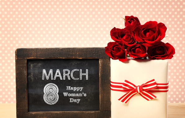 Picture flowers, background, gift, plate, roses, red, March 8, ribbon, date, box, women's day
