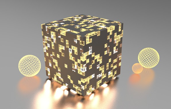 Picture light, abstraction, rendering, abstract, light, cube, render, cube, wireframe, blender3d, блендер3d, ecosfera, icosphere