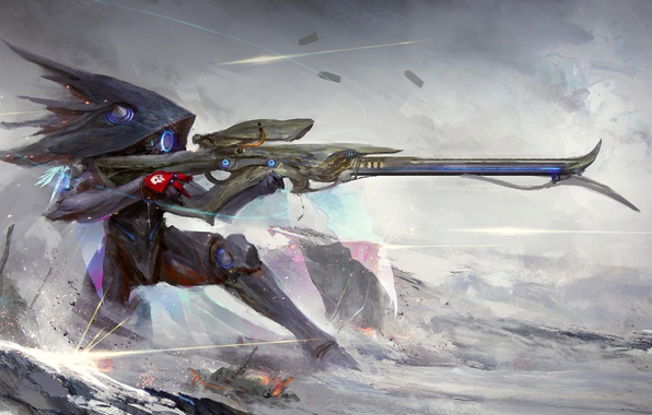 Picture weapons, fiction, the game, art, shooter, sniper rifle, warframe