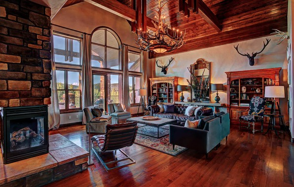 Cars For Sale In Colorado >> Wallpaper living room, fireplace, Colorado, country style ...