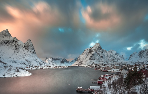 Picture winter, snow, mountains, lake, morning, Norway, the village, the fjord