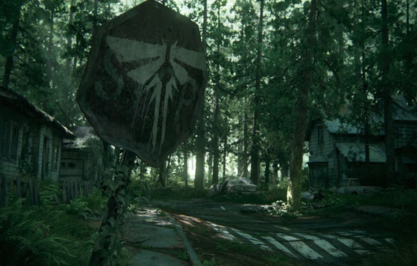 Picture forest, trees, house, sign, art, cicadas, Naughty Dog, The Last of Us Part II