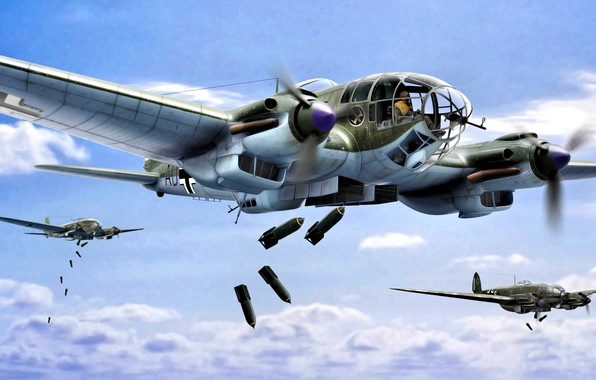 Picture Germany, art, Bomber, Heinkel, The second World war, He-111, WWII, bombs