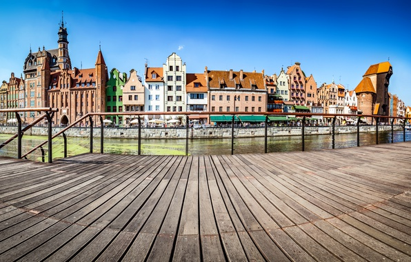 Picture the sky, river, ship, home, sailboat, Poland, channel, Sunny, promenade, Gdansk