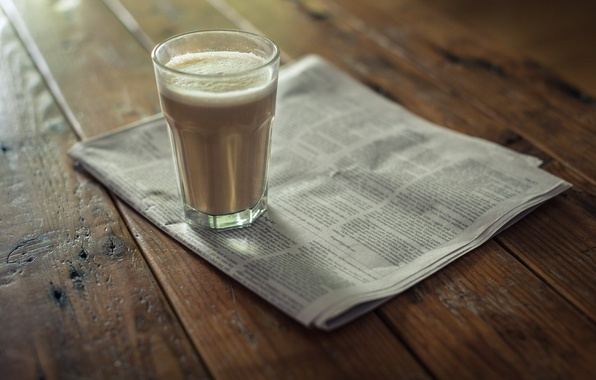 Picture glass, coffee, newspaper