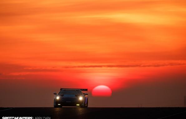 Picture the sun, race, Lamborghini, morning, Gallardo, trek, Super Trophy
