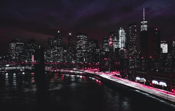 Picture Brooklyn bridge, promenade, skyscrapers, New York, usa, night city lights
