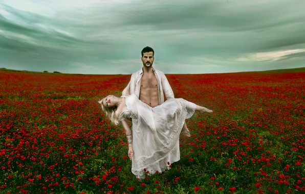 Picture field, girl, flowers, Maki, the situation, guy, Vanessa Galway, Victor Brenes