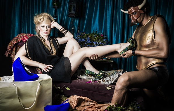 Picture girl, sofa, dress, mask, blonde, costume, shoes, male, bag, fashion, the Minotaur, fitting