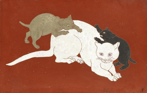 Picture orange, 1930, Tsuguharu Foujita, Cat and kittens