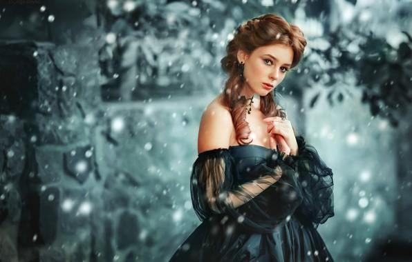 Picture look, girl, snow, style, mood, dress, neckline, curls, Olga Boyko