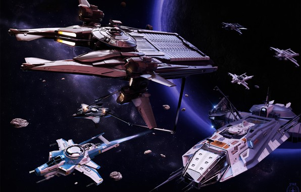 Picture planet, spaceships, Anvil Star Citizen