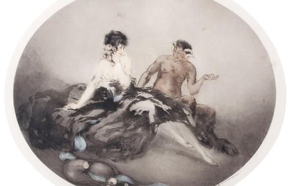 Picture horns, 1926, art Deco, etching and aquatint, Louis Ikar, The narrator