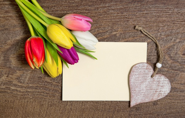 Picture romance, heart, bouquet, colorful, tulips, love, heart, wood, romantic, tulips, with a holiday!