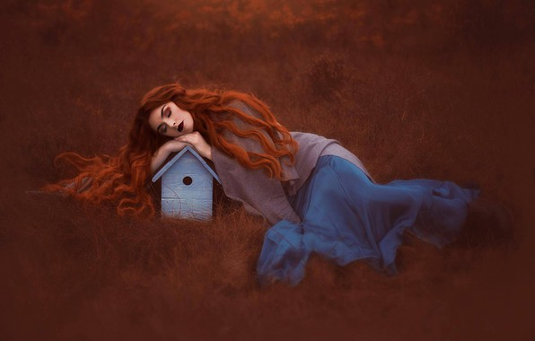 Picture grass, mood, sleep, the situation, birdhouse, red, redhead, long hair, sleeping girl