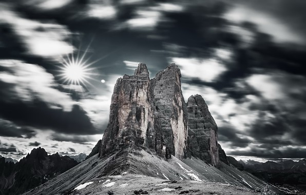Photo wallpaper mountains, Dolomites Italie, the sky
