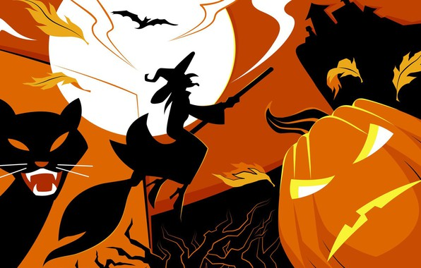 Picture vector, Halloween, moon, house, bat, holiday, pumpkin, witch, scary, spooky, scary house, vector art, flying ...