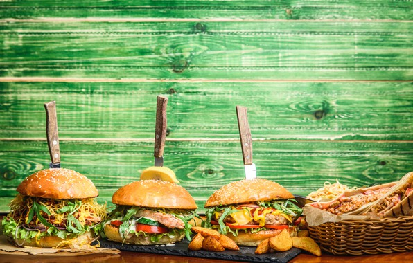 Picture food, buns, burgers, cutting Board, fried potatoes