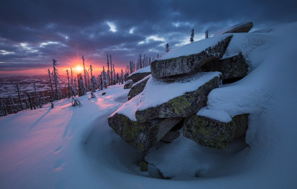 Picture winter, forest, the sun, snow, trees, sunset, nature, stones, rocks, the evening, slope