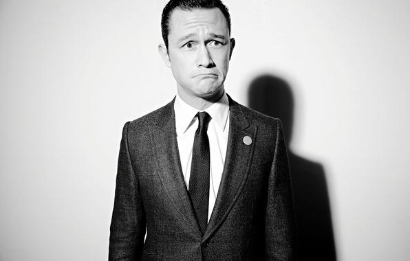 Picture background, shadow, costume, tie, actor, black and white, jacket, Los Angeles, grimace, photoshoot, Joseph Gordon-Levitt, …