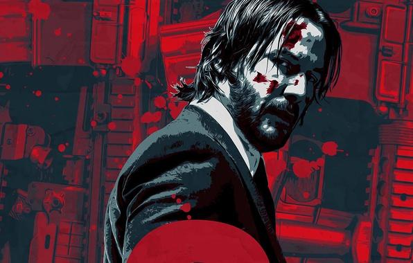 Picture cinema, gun, blood, weapon, man, movie, film, rifle, Keanu Reeves, powerful, strong, John Wick, John …