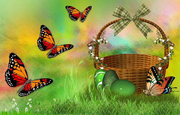 Picture BUTTERFLY, MOOD, EASTER, EGGS, HOLIDAY, THE WALLPAPERS