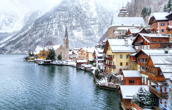 Picture winter, forest, snow, trees, mountains, lake, shore, home, Austria, Hallstatt, Hallstatt