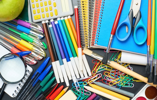 Picture paint, Apple, pencils, Notepad, handle, magnifier, notebook, crayons, scissors, line, brush, clip, the office, eraser, …