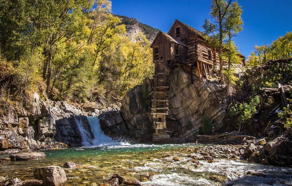 Picture Waterfall, Lake, House