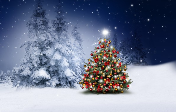 Picture winter, snow, decoration, snowflakes, balls, tree, New Year, Christmas, happy, Christmas, night, winter, snow, Merry …