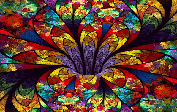 Picture bright, abstraction, stained glass, colorful, colors, funnel, abstraction 3d