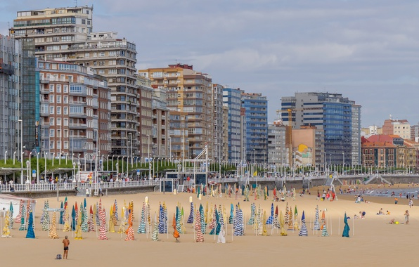 Picture beach, home, Spain, Asturias, Gijón